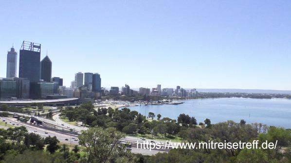 Blick vom Botanischen Garten auf Perth