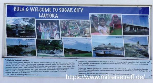Plakat mit Bula & Welcome To Sugar City Lautoka