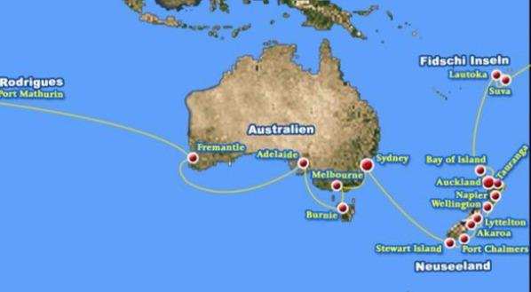 3. Route der Weltreise mit MS Albatros,Stewart Island, Port Chalmers, Akaroa, Lytellton, Wellington, Napier, Tauranga, Auckland,Winfried Lamm