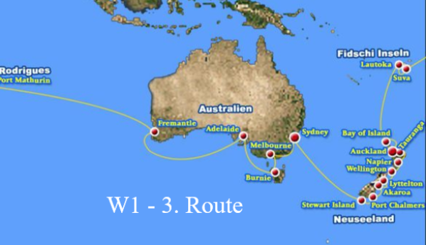 3. Route der Weltreise mit MS Albatros