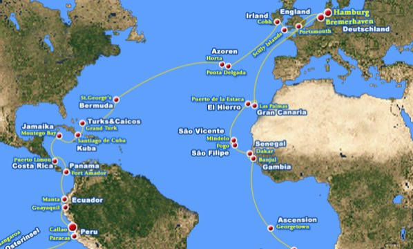 5. Route der Weltreise mit MS Albatros,Callao, Guayaquil, Manta, Fort Amador, Panama, Puerto Limon, Montego Bay, Santiago de Cuba, Grank Turk, St.George, Horta, Ponta Delgada, Cobh,Scilly Islands, Portsmouth, Bremerhaven,Winfried Lamm