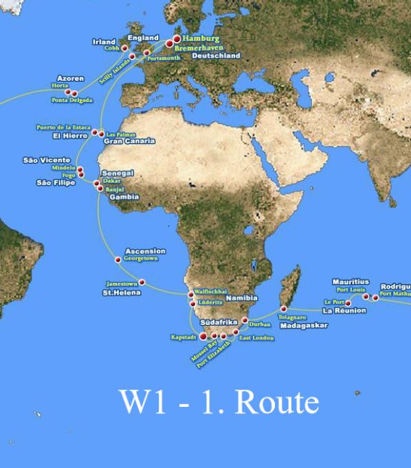 W1 - 1. Route: Hamburg - Kapstadt vom 23.12.15 - 18.01.2016