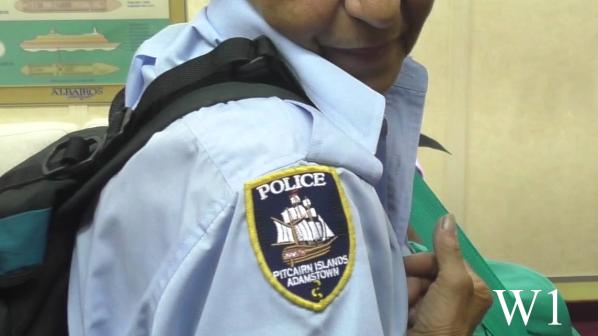 Polizei Wappen von Frau Police Officer