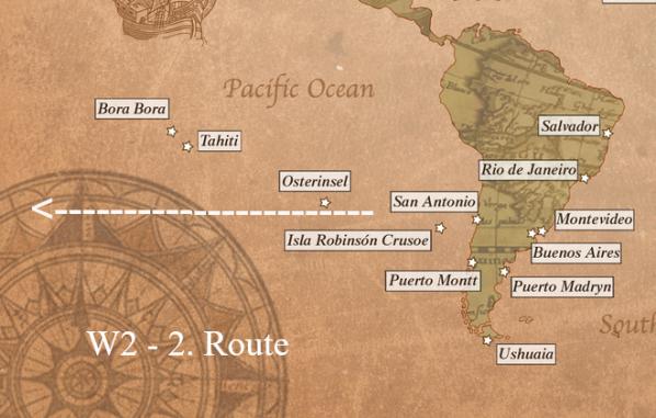 San Antonio / Chile - Robinson Crusoe / Chile - Osterinsel - Tahiti - Bora Bora / Französisch-Polynesien