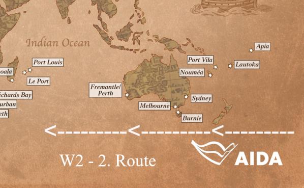 Apia / Samoa - Lautoka / Fidschi - Port Vila / Vanuatu - Noumea / Neukaledonien - Sydney / Australien, Burnie / Tasmanien, Melbourne - Fremantle (Perth) / Australien - Port Louis / Mauritius