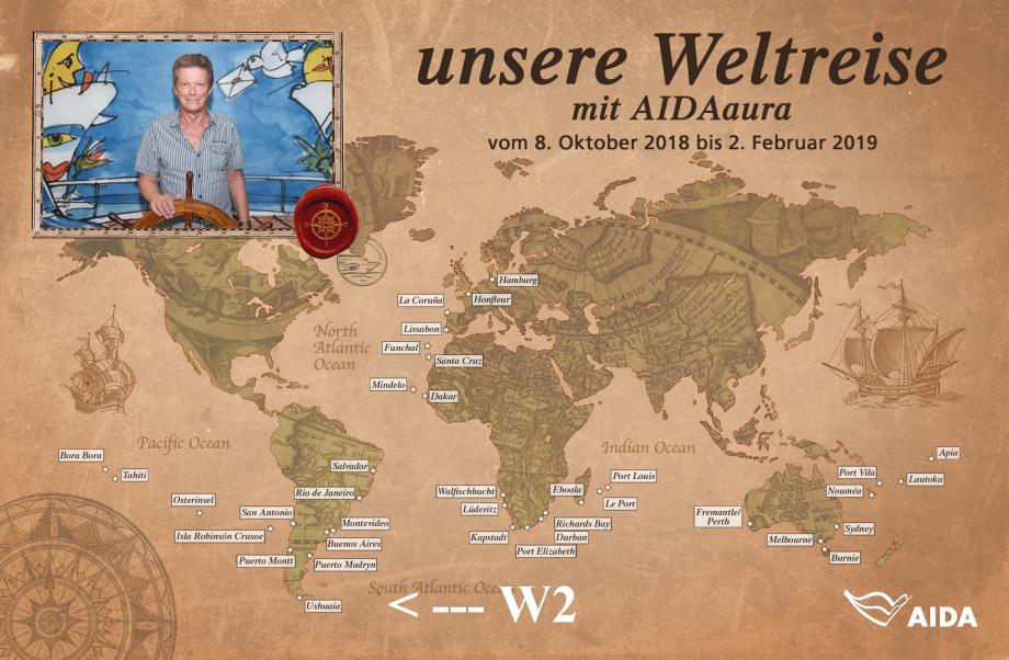 Weltreise mit AIDAaura vom 08.10.2018 bis 02.02.2019 von Hamburg links um die Welt bis Hamburg