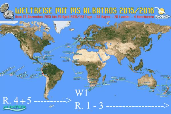 128 Tage - 63 Häfen - 28 Länder - 4 Kontinente