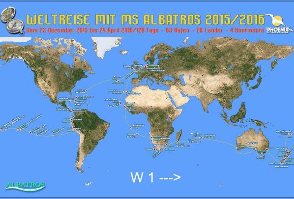 W 1 - Weltreise mit MS Albatros 2015 / 2016