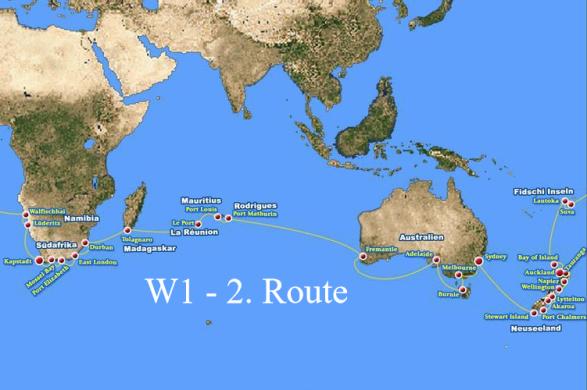 W1 - 2. Route: Kapstadt - Sydney vom 19.01.- 29.02.2016