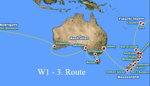 3. Route von W1 ab Stewart Island, Port Chalmers, Akaroa, Lytellton, Wellington, Napier, Tauranga, Auckland