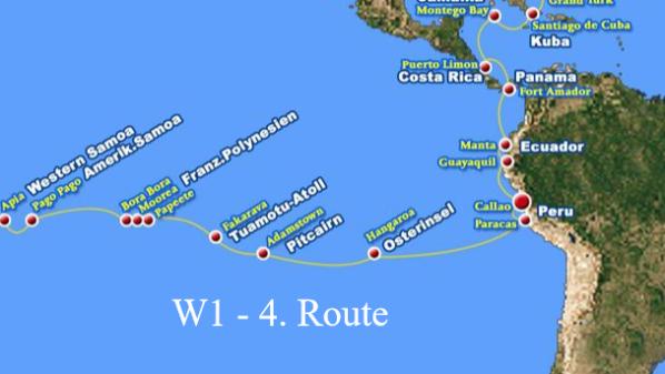Apia, Pago Pago, Bora Bora, Moorea, Papeete, Fakarava, Adamstown, Hanga Roa, Paracas, Callao / Peru