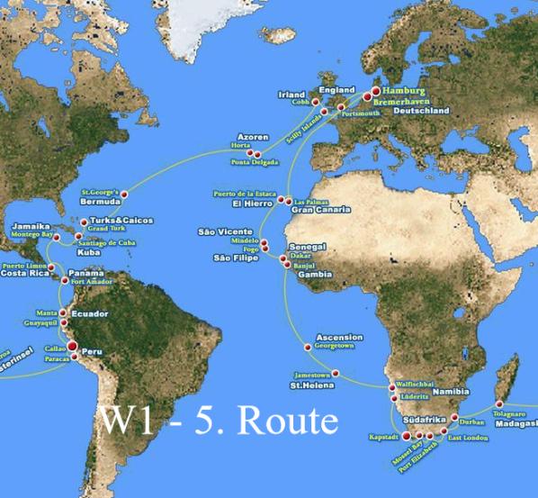 5. Route der Weltreise mit MS Albatros