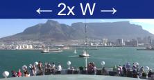 Abfahrt von Kapstadt mit Blick auf den Tafelberg und gekennzeichnet mit 2 x W